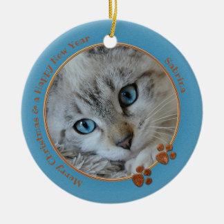Kitty-Andenken-blaue WeihnachtsFoto-Verzierung Keramik Ornament