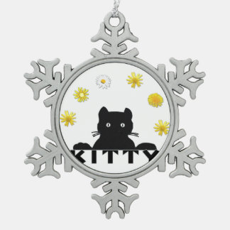 Kitty-Blumen Schneeflocken Zinn-Ornament