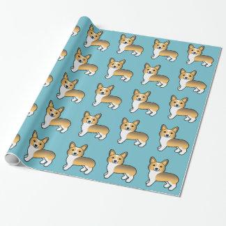Kitz-Zobelpembroke-Walisercorgi-Muster auf Blau Geschenkpapier