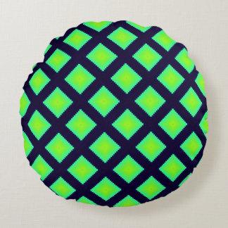 Kiwi-Grün-und Marine-Blau-Muster Rundes Kissen