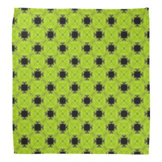Kiwi-grünes und schwarzes Vintages Muster Kopftuch