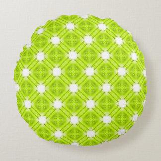 Kiwi-grünes und weißes geometrisches rundes kissen