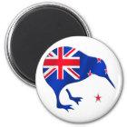 Kiwi Neuseeland-Flaggenfußball-Fußballgeschenke Runder Magnet 5,7 Cm