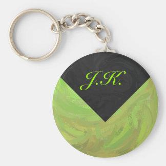 Kiwi-Schlag-grünes und schwarzes Monogramm Schlüsselanhänger