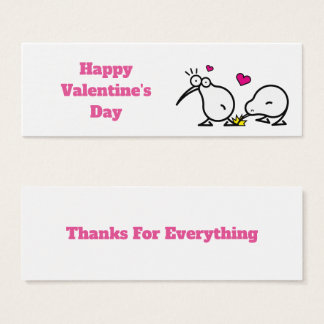 kiwiis glücklicher Valentinstag-Dank Mini Visitenkarte
