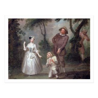 Klammer Woffington als Rosalind mit Celia und Postkarte