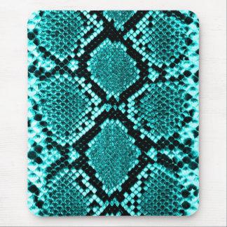Klapperschlangen-Schlangen-Haut-Leder-Imitat blau Mousepads
