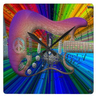 Klare Farbfriedensgitarren-Uhr Quadratische Wanduhr
