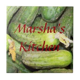 Klare grüne Zucchini-Gurken-Name-Fliese Fliese