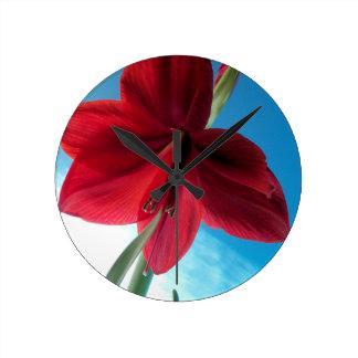 klare rote Blume der Amaryllis-108a Runde Wanduhr
