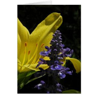Klare Taglilie u. Salvia Blumenanmerkungs-Karte Karte