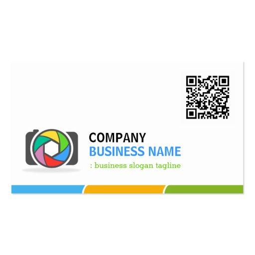 Klare und bunte Fotografie mit QR Code Visitenkartenvorlage