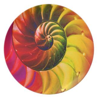 Klarer Seashell Wirbel in Techno Farbe Teller