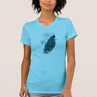 Klarer Vintager französischer Pfau-Druck T-Shirt