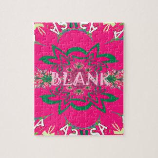 Klares rosa lila Schattenmit blumenmonogramm des Puzzle