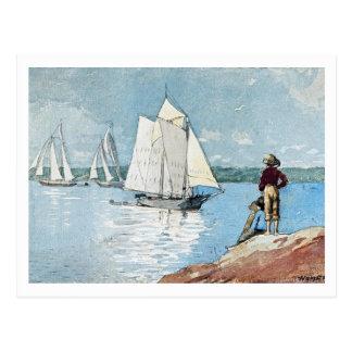Klares Segeln durch Winslow Homer Postkarte