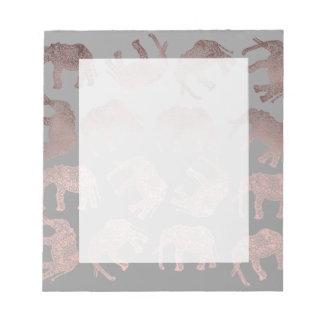 klares Stammes- Elefantmuster der Rosengoldfolie Notizblock