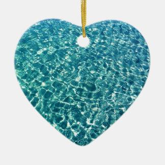 Klares Wasser-Blau Keramik Herz-Ornament