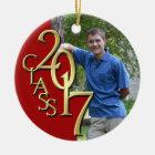 Klasse 2017 rot und Goldgraduiertes Foto Keramik Ornament
