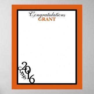 Klasse Abschluss-autographischer Andenken-Orange Poster