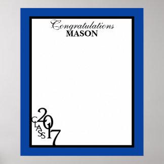 Klasse Abschluss-blauen autographischen Andenkens Poster