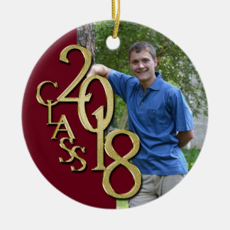 Klasse Burgunder 2018 und Goldgraduiertes Foto Keramik Ornament
