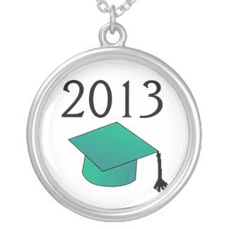 Klasse der Abschluss-Kappe blaugrün Versilberte Kette