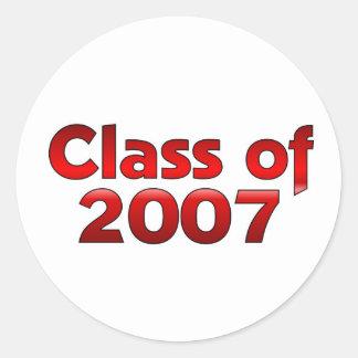 Klasse von 2007 rot u. weiß runder aufkleber