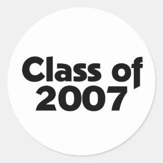 Klasse von 2007 schwarz u. von Weiß Runder Aufkleber