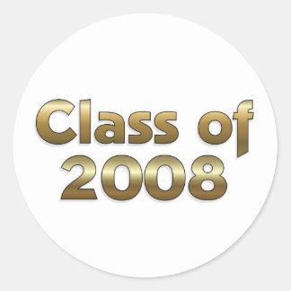 Klasse von 2008 - Gold Runder Aufkleber