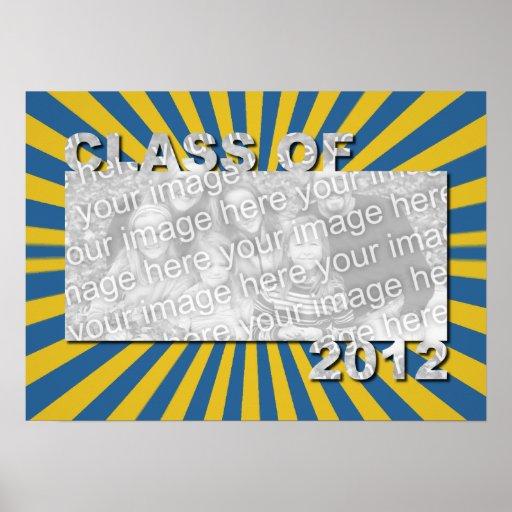Klasse von 2012 schnitt Foto-Rahmen - blaue Goldex Plakatdruck