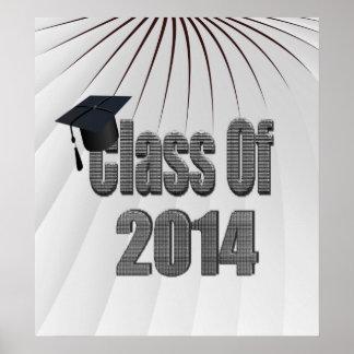 Klasse von 2014 grau und schwarz mit Kappe Poster