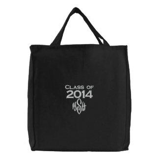 Klasse von 2014 u. Ihre Initialen gestickte Tasche