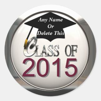 Klasse von 2015 kastanienbraun u. von silbernen runder aufkleber