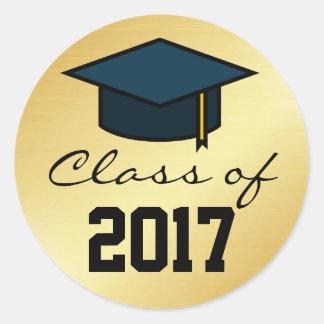 Klasse von 2017 Abschluss-Kappen-Aufkleber, Runder Aufkleber