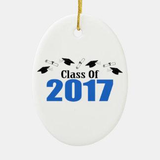 Klasse von 2017 Kappen und von Diplomen (blau) Ovales Keramik Ornament