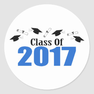 Klasse von 2017 Kappen und von Diplomen (blau) Runder Aufkleber