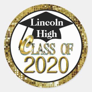 Klasse von 2020 funkelndem GoldAbschluss-Siegel Runder Aufkleber