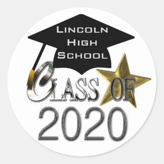 Klasse von Abschluss-Siegel 2020 Runder Aufkleber