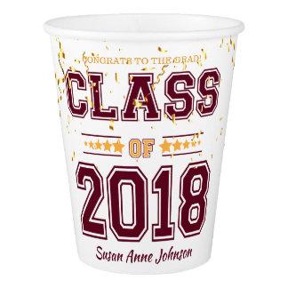 Klasse von Absolvent-Party 2018 Burgunder und von Pappbecher