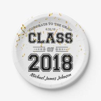 Klasse von Absolvent-Party-Schwarzem 2018 und Pappteller