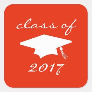Klasse von Aufkleber 2017 (rote Abschluss-Kappe)