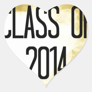 Klasse von Goldhintergrund 2014 Herz Aufkleber