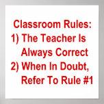 Klassenzimmer ordnet an (aller rote Text) Plakatdruck