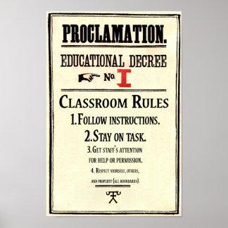Klassenzimmer ordnet Proklamations-pädagogische Poster