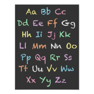 Klassenzimmer-Pastellalphabet-Tafel Poster