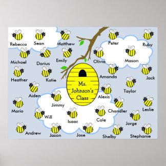 Klassenzimmer-Plakat - Klassen-Namen-Honig-Bienen  Poster