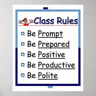 Klassenzimmer-Regeln: 5 p Poster