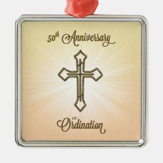 Klassifikations-Jahrestag der Glückwunsch-50. Quadratisches Silberfarbenes Ornament