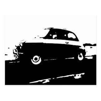 Klassiker Fiats 500 - schwarze Bildpostkarte Postkarte